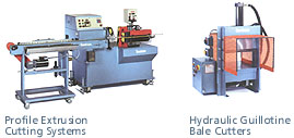 Profile extrusion cutting systems, Hydraulic guillotine bale cutters